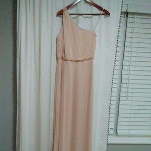 Blush bridesmaid dress.
